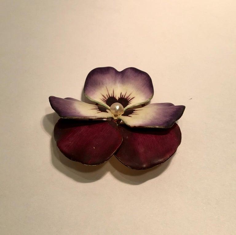 Art Nouveau Style Vintage Enamel Pansy Flower Pin 14 Karat Gold and Pearl 5