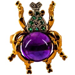 Art Nouveau Style White Diamond Emerald Amethyst Yellow Gold Cocktail Ring
