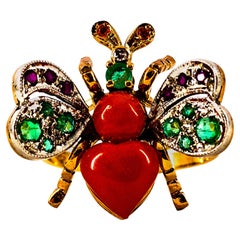 Art Nouveau Style White Diamond Emerald Ruby Red Coral Yellow Gold Cocktail Ring