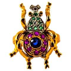 Art Nouveau Style White Diamond Emerald Ruby Sapphire Yellow Gold Cocktail Ring