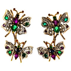 Art Nouveau Style White Diamond Emerald Ruby Sapphire Yellow Gold Stud Earrings