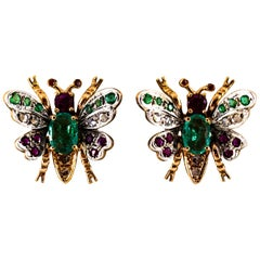 Art Nouveau Style White Diamond Emerald Ruby Yellow Gold Stud Earrings