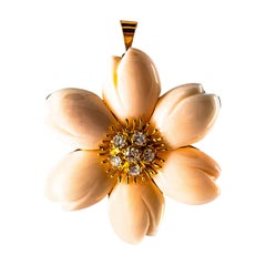 Art Nouveau Style White Diamond Handcrafted Pink Coral Yellow Gold Pendant