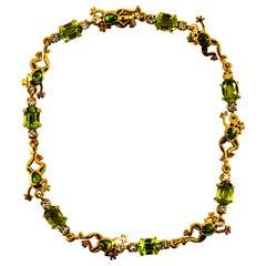 """Art Nouveau Style White Diamond Peridot Enamel Yellow Gold """"Frog"""" Bracelet"""