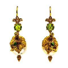Art Nouveau Style White Diamond Peridot Pearl Enamel Yellow Gold Drop Earrings