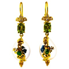 "Art Nouveau Style White Diamond Peridot Pearl Enamel Yellow Gold ""Frog"" Earrings"
