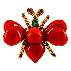 Art Nouveau Style White Diamond Ruby Emerald Red Coral Yellow Gold Cocktail Ring