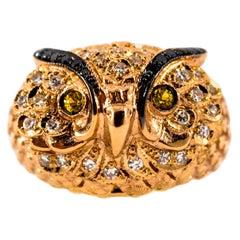"""Art Nouveau Style White Diamond Yellow Sapphire Yellow Gold Cocktail """"Owl"""" Ring"""
