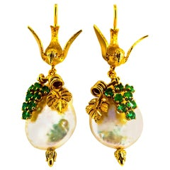 Art Nouveau Style White Diamonds Emerald Pearl Yellow Gold Stud Drop Earrings