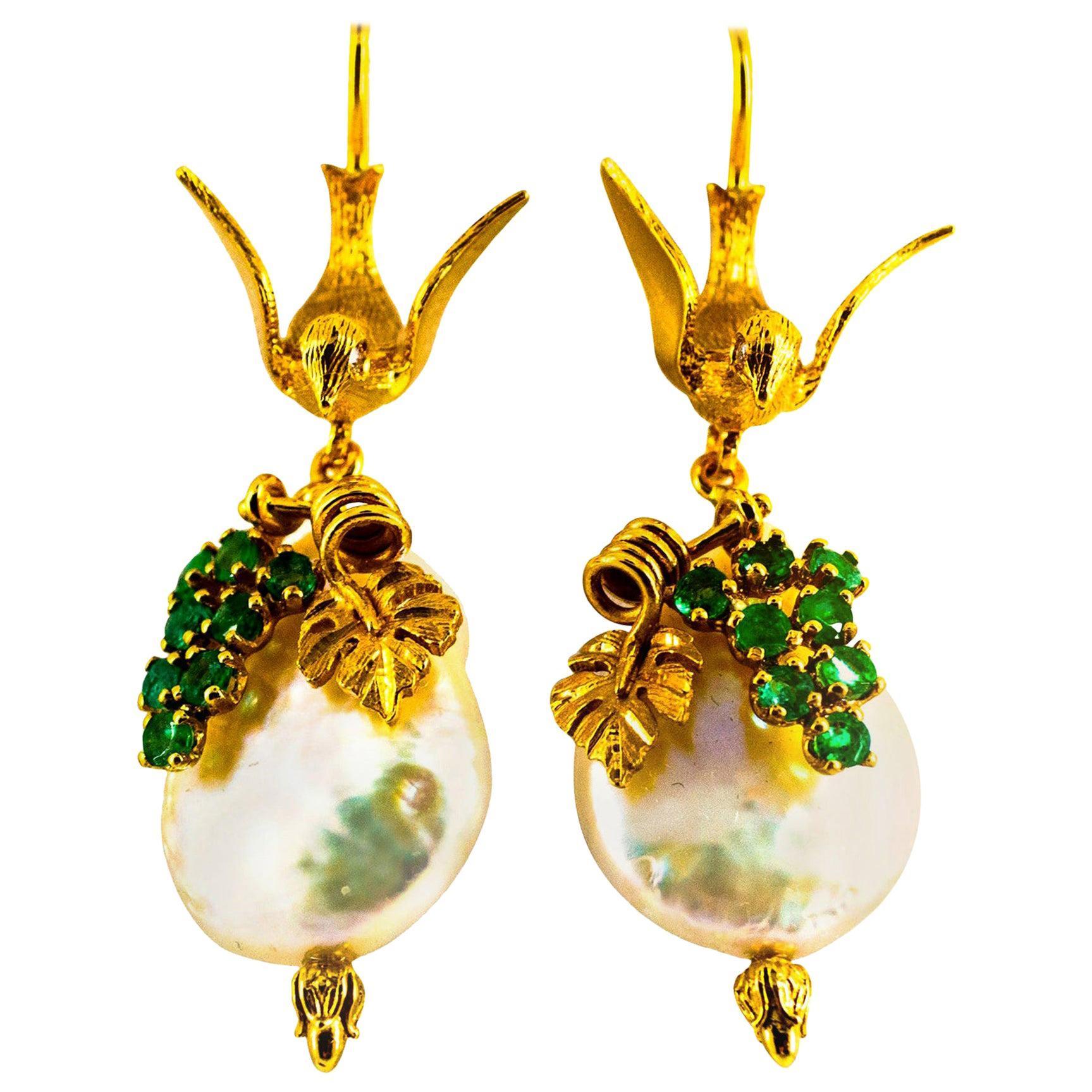 Art Nouveau Style White Diamonds Emerald Pearl Yellow Gold Stud Drop Earrings