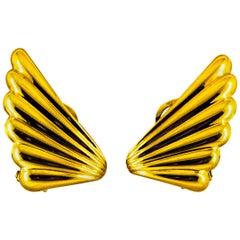 "Art Nouveau Style Yellow Gold Clip-On Dangle ""Pomellato"" Earrings"