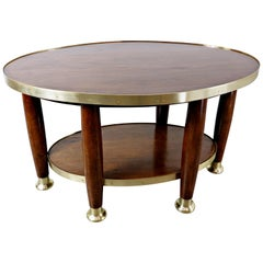 Art Nouveau Table in the Style of Adolf Loos, Wood and Brass, circa 1910