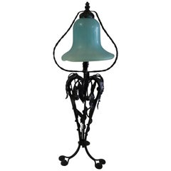 Art Nouveau Table Lamp ,Art glass shade  Wrought iron