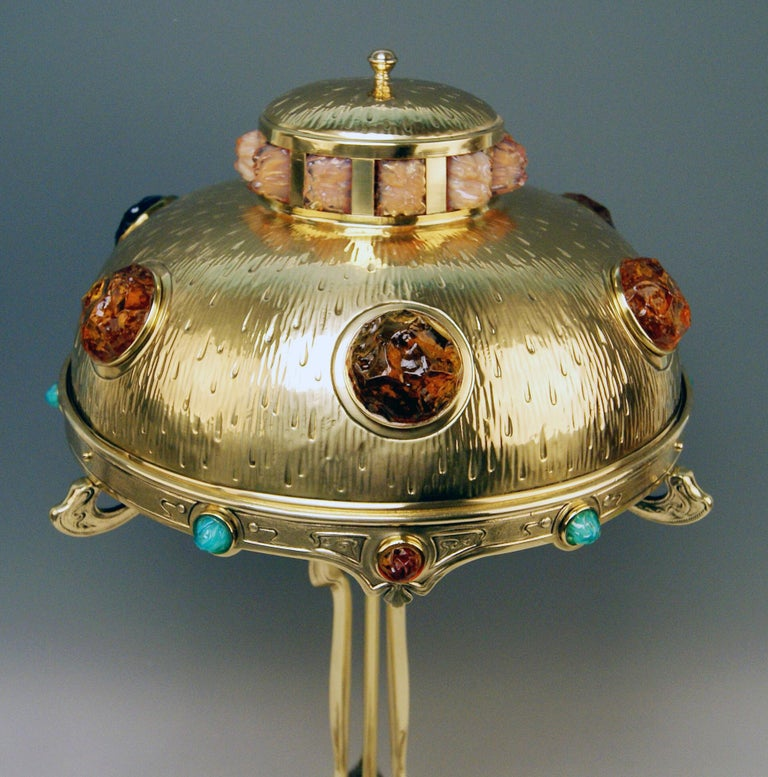Austrian Art Nouveau Table Lamp Brass Multicolored Glass Stones Vienna, circa 1905-1910