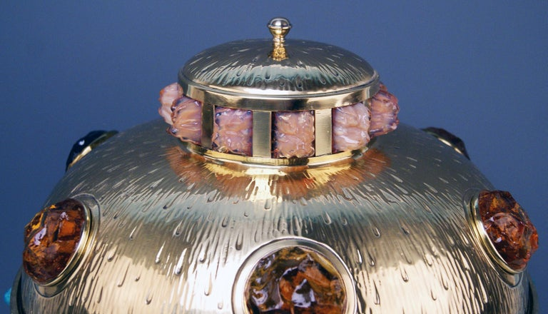 Art Nouveau Table Lamp Brass Multicolored Glass Stones Vienna, circa 1905-1910 In Excellent Condition In Vienna, AT