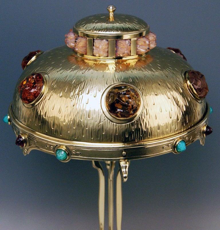 Art Nouveau Table Lamp Brass Multicolored Glass Stones Vienna, circa 1905-1910 3