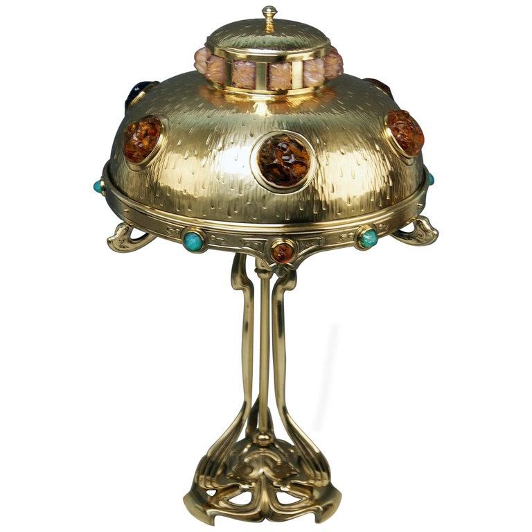 Art Nouveau Table Lamp Brass Multicolored Glass Stones Vienna, circa 1905-1910