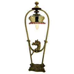 Art Nouveau Table Lamp Putto on Swing, 1920