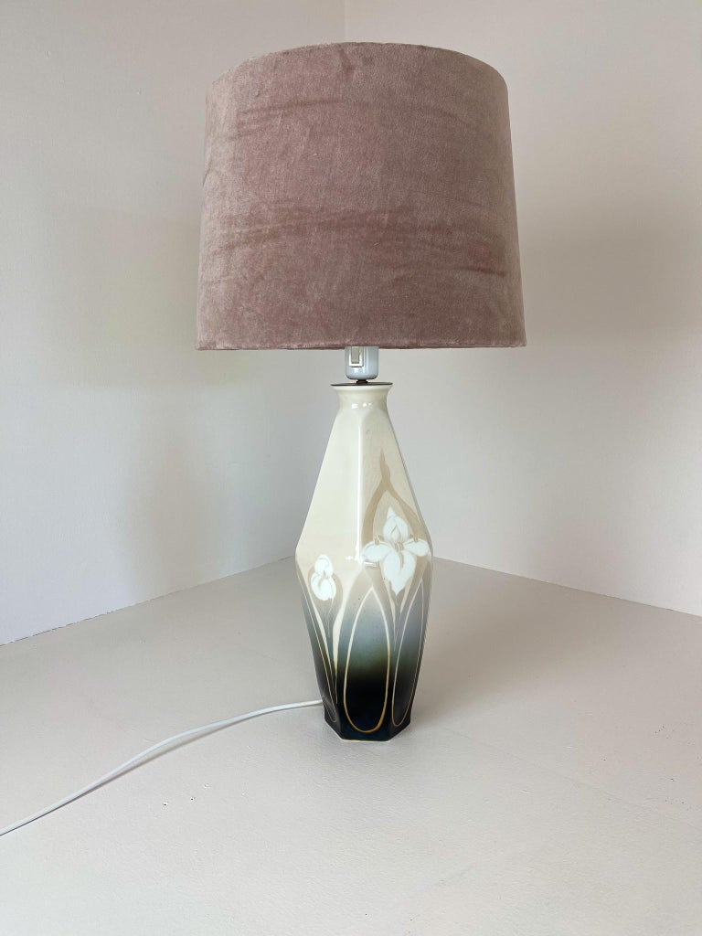 Early 20th Century Art Nouveau Table Lamp Rörstrand Sweden, 1900 For Sale