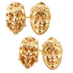 Jugendstil, goldene Theatermaske-Manschettenknöpfe