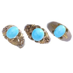 Art Nouveau Three Natural Turquoise Rings