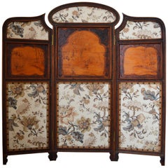 Art Nouveau Three-Panel Folding Screen or Room Divider in Carved Wood circa 1900