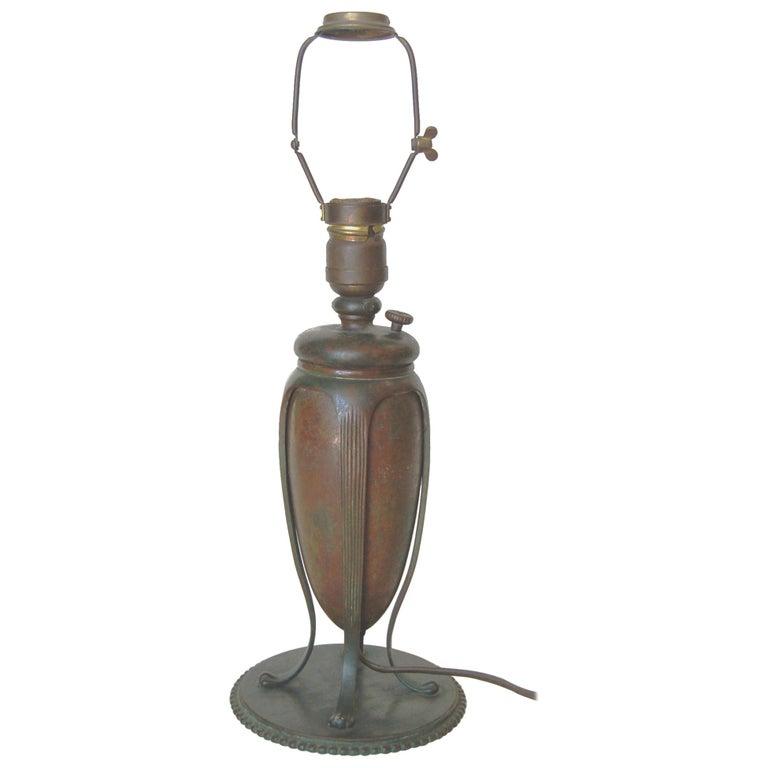 Art Nouveau Tiffany Bronze Table Lamp For Sale
