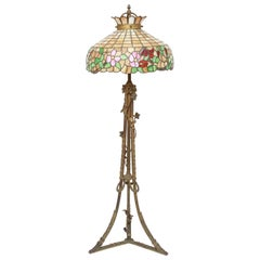Art Nouveau Tiffany Style Slag Glass Floor Lamp