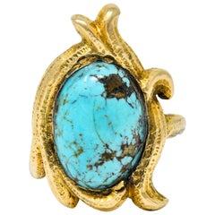 Art Nouveau Turquoise 14 Karat Gold Foliate Whiplash Ring