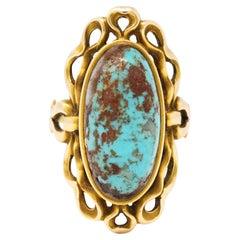 Art Nouveau Turquoise 14 Karat Yellow Gold Cabochon Ring