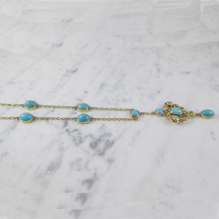 Old European Cut Art Nouveau Turquoise and 0.50 Carat Diamond Necklace, Yellow Gold For Sale