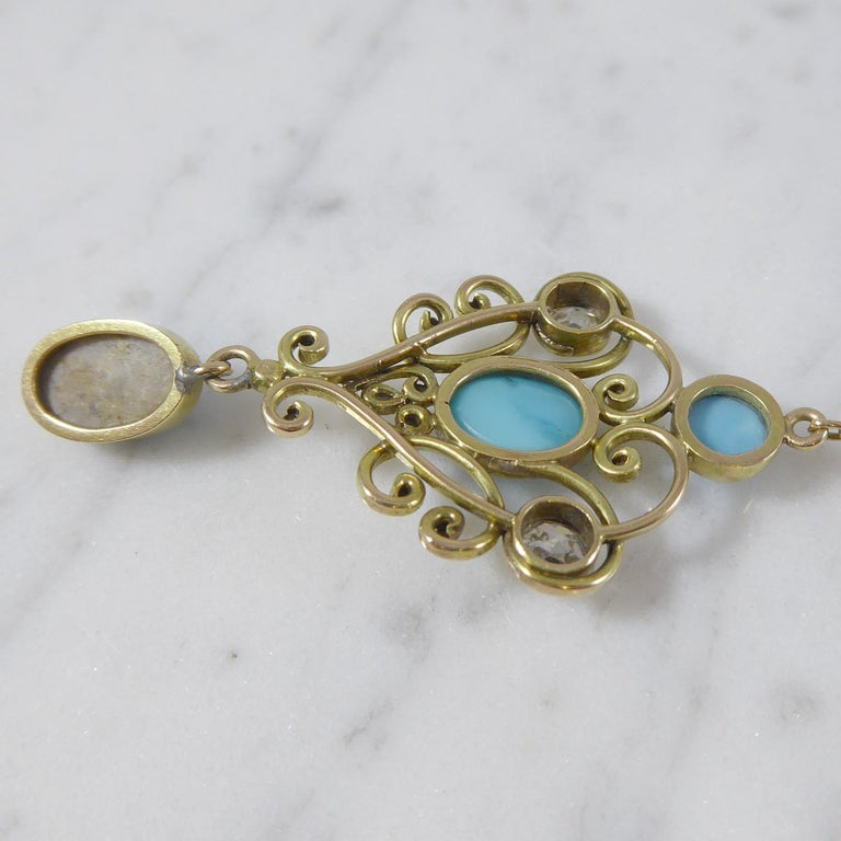 Art Nouveau Turquoise and 0.50 Carat Diamond Necklace, Yellow Gold In Good Condition For Sale In Yorkshire, West Yorkshire