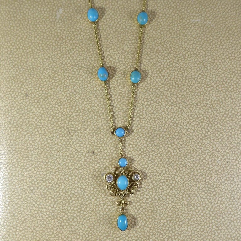Art Nouveau Turquoise and 0.50 Carat Diamond Necklace, Yellow Gold For Sale 1