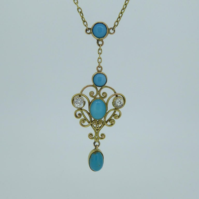 Art Nouveau Turquoise and 0.50 Carat Diamond Necklace, Yellow Gold For Sale 2