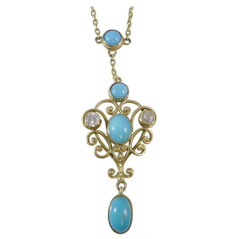 Art Nouveau Turquoise and 0.50 Carat Diamond Necklace, Yellow Gold For Sale