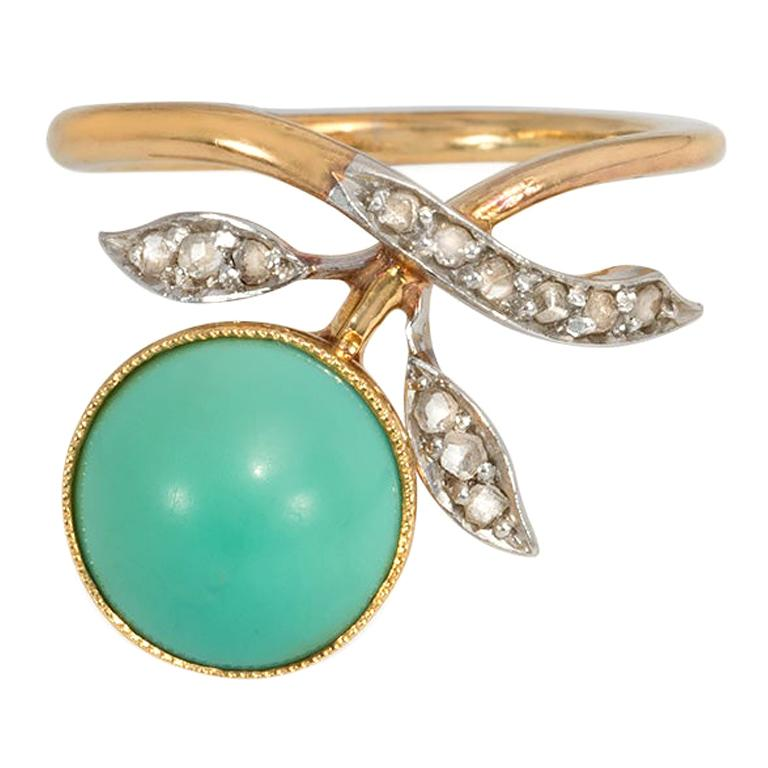Art Nouveau Turquoise and Diamond Floral Motif Ring in Gold and Platinum For Sale