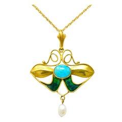 Art Nouveau Turquoise Enamel Natural Pearl Floral Drop Pendant Necklace