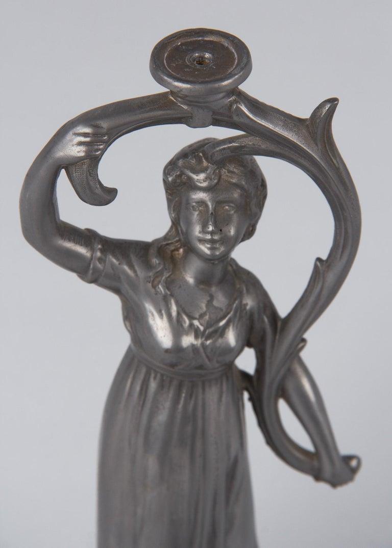 Art Nouveau Val Saint Lambert Pewter Figurine with Crystal Vase, Belgium, 1910s For Sale 13
