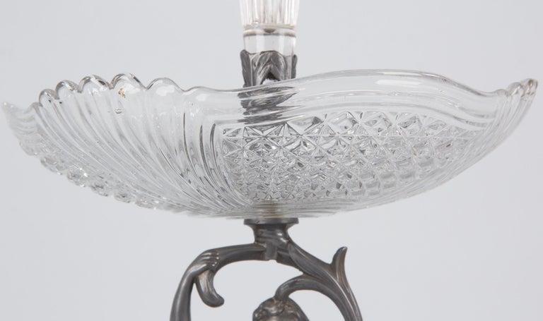 20th Century Art Nouveau Val Saint Lambert Pewter Figurine with Crystal Vase, Belgium, 1910s For Sale