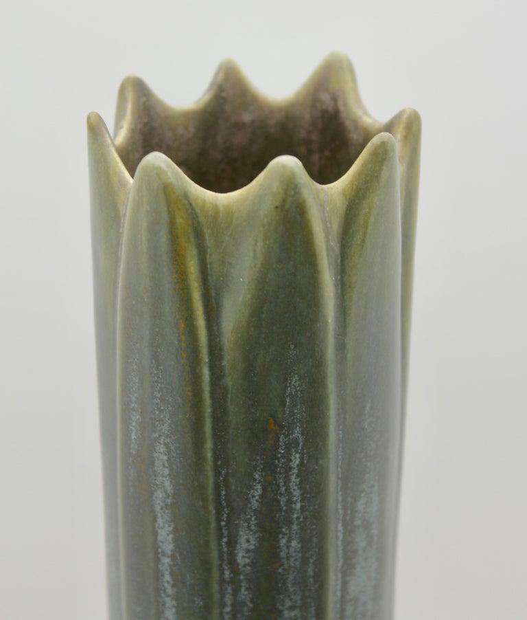 Glazed Art Nouveau Vase, Amaryllis Vase, Yellow with Blue and Grey Drip Glazes, 1930s For Sale