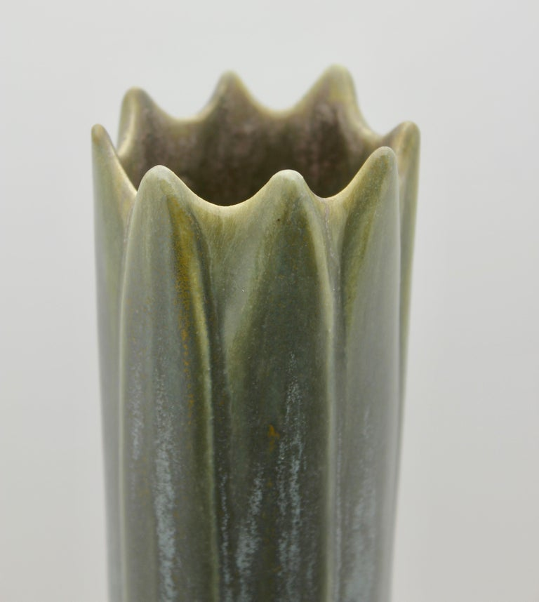 Art Nouveau Vase, Amaryllis Vase, Yellow with Blue and Grey Drip Glazes, 1930s In Good Condition For Sale In Verviers, BE