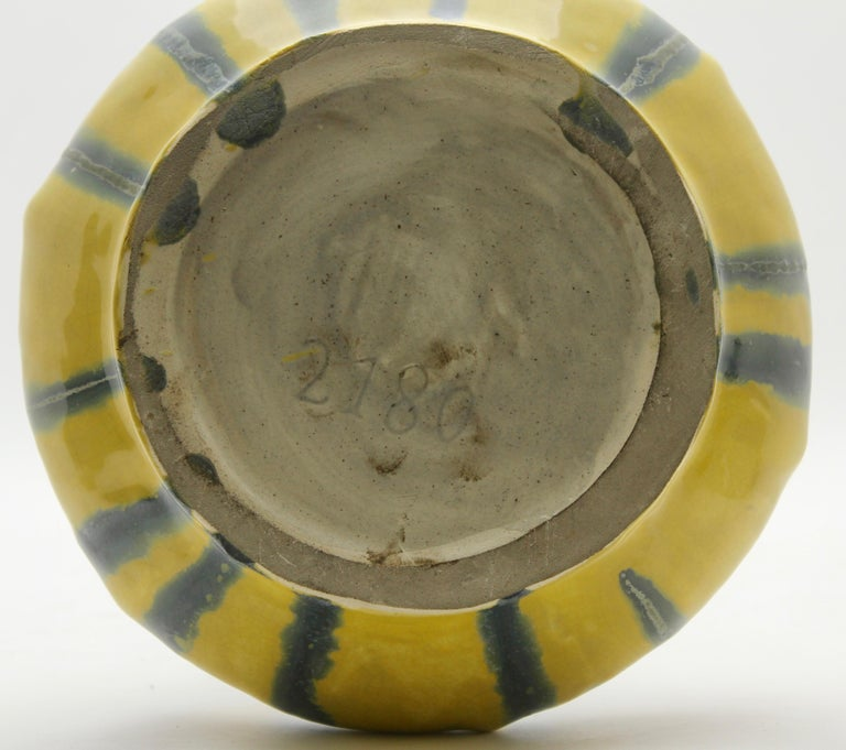 Mid-20th Century Art Nouveau Vase, Amaryllis Vase, Yellow with Blue and Grey Drip Glazes, 1930s For Sale