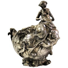 Art Nouveau Vase (Antique )Silver Plate Mermaid, Signed and Dated 1897