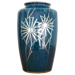 Art Nouveau Vase by Ruskin Pottery with Shreve & Co. Silver Overlay