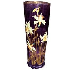 Art Nouveau Vase in Enamelled Glass with Floral Decoration, circa 1900