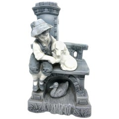 Art Nouveau Vase with Boy on Bench with Dog and Duck, circa 1900