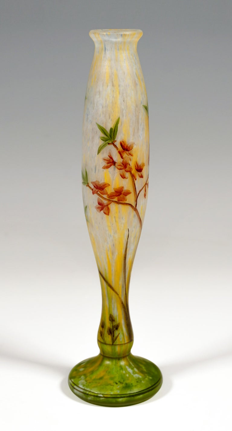 French Art Nouveau Vase with Delicate Flower Branches Decor, Daum Nancy, France, c 1900