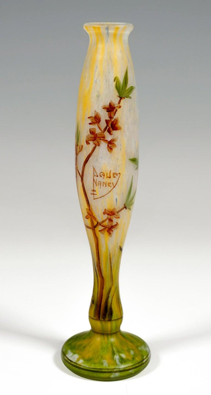 Etched Art Nouveau Vase with Delicate Flower Branches Decor, Daum Nancy, France, c 1900
