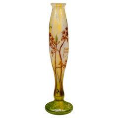 Art Nouveau Vase with Delicate Flower Branches Decor, Daum Nancy, France, c 1900