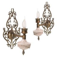 Art Nouveau Venetian Wall Lights, Pink Porcelain from Bassano, Brass and Bronze
